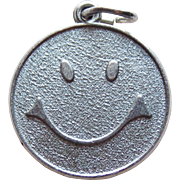 Sterling Smiling Face Vintage Charm - Smile Smiley Have a Nice Day