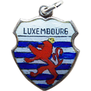 Vintage LUXEMBOURG 800 Silver & Enamel Charm - Souvenir of Germany