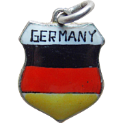 Vintage GERMANY 800 Silver & Enamel Charm - Travel Souvenir