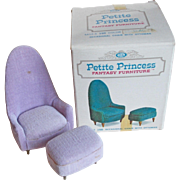 Doll House Occasional Chair with Ottoman - 1960s Petite Princess Fantasy Furniture Ideal Original Box