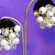 Gorgeous AURORA CRYSTAL Faux Pearl & Aurora Rhinestone Vintage Dangle Earrings