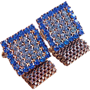 BLUE Rhinestone Mesh Wrap Vintage Cufflinks