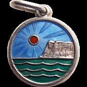 Sterling & Enamel Seascape Vintage Pendant or Charm - Norway or Denmark Signed Scandinavian
