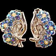 Fabulous BLUE AURORA Rhinestone Vintage Clip Earrings
