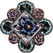 Fabulous Antique MICRO MOSAIC Micromosaic Brooch