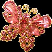 Gorgeous BUTTERFLY Vintage Pink Rhinestone Brooch