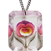 Gorgeous CARVED LUCITE PANSY Vintage Pendant Necklace