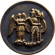 """Antique GUARDIAN ANGEL & Soldier or Gladiator Picture Story Button - 1 5/16"""""""