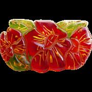 Fabulous CARVED BAKELITE Reverse Painted Vintage Brooch - Apple Juice Applejuice
