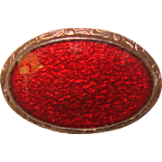 Tiny Antique Red Enamel Mini Brooch - For Your Doll