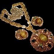 Fabulous West Germany Peridot Green Glass & Rhinestone Vintage Necklace Set