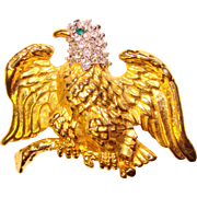 Awesome MAJESTIC EAGLE Rhinestone Brooch
