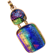 Fabulous STERLING & Colored Glass Large Estate Pendant