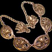Fabulous CORO STERLING Vintage Dimensional Flowered Necklace & Earrings Set
