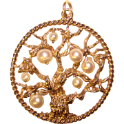 Fabulous STERLING & PEARL Tree of Life Large Vintage Pendant
