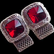 Red Square RIVOLI RHINESTONE Mesh Wrap Vintage Cufflinks
