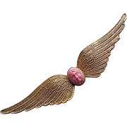 Fabulous Antique ANGEL FACE with Wings Victorian Sash Pin Brooch - Coral Colored Glass Stone
