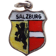Vintage 800 Silver & Enamel Salzburg Charm - Souvenir of Austria