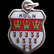 Vintage 800 Silver & Enamel Koln Cologne Charm - Souvenir of Germany