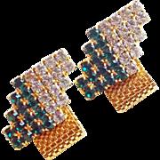 GREEN & CLEAR Rhinestone Mesh Wrap Vintage Cufflinks