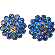 Fabulous BLUE RHINESTONE Vintage Clip Earrings