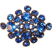 Fabulous BLUE RHINESTONE Vintage Brooch