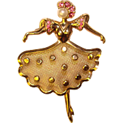 Gorgeous GRACEFUL DANCER 12K Gold Filled Vintage Brooch