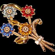 Fabulous HUGE 1940's Vintage Floral Spray Jeweled Brooch
