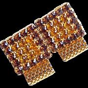 AMBER & BROWN Rhinestone Mesh Wrap Vintage Cufflinks