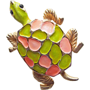 Awesome TURTLE Flower Power Enamel Vintage Brooch