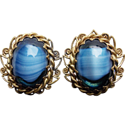 Gorgeous West Germany Blue Art Glass Vintage Earrings