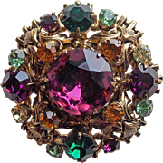 Gorgeous COLOR RHINESTONE Vintage Brooch - Purple Green Amber