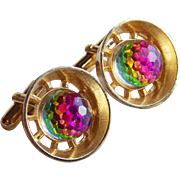 Gorgeous Watermelon FIREBALL CRYSTAL Vintage Cufflinks