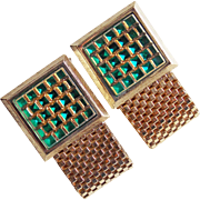 Gorgeous GREEN GLASS Stones Vintage Wrap Cufflinks - Signed Dante