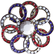 Awesome RED WHITE & BLUE Rhinestone Vintage Brooch - Channel Set