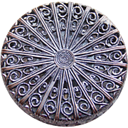 Gorgeous Antique Filigree Button - 1 1/4""