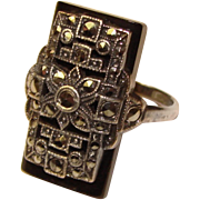 Fabulous ART DECO Sterling & Marcasite Signed Uncas Ring