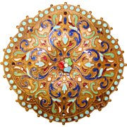 Fabulous Antique ENAMELED Ornate Estate Brooch