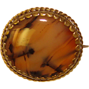 Gorgeous ANTIQUE AGATE Vintage Estate Brooch