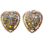 Gorgeous HEART Shaped Aurora Rhinestone Vintage Clip Earrings