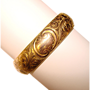 Gorgeous Antique Gold Filled Hinged Bangle Bracelet