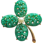 Lucky 4 FOUR LEAF CLOVER Shamrock Poured Glass Vintage Brooch - St. Patrick's Day