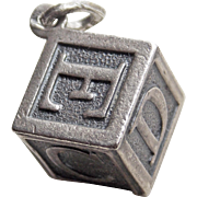 Sterling BABY ABC BUILDING BLOCK Vintage Estate Charm - Signed Beau - Child Toy