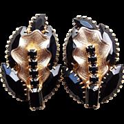 Gorgeous WEISS Signed Black Rhinestone Vintage Clip Earrings