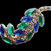 Fabulous Blue Green & Aurora Rhinestone Vintage Brooch