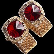 Awesome Red Rhinestone Vintage Mesh Wrap Cufflinks - Rivoli Headlight Shaped Stones
