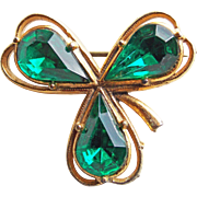Lucky 3 Leaf Clover Shamrock Green Rhinestone Vintage Brooch - Made in England - St. Patrick's Day