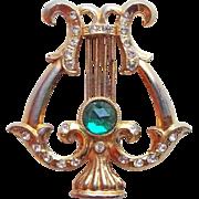 Awesome LYRE Green Rhinestone Vintage Brooch - Figural