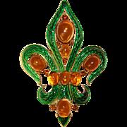 Fabulous TRIFARI L'Orient Green Enamel Amber Colored Cabochon Stones Vintage Brooch