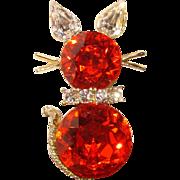 Fabulous DODDS Signed Orange Rhinestone CAT Brooch